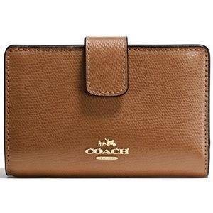Coach Medium Corner Zip Wallet Leather Saddle